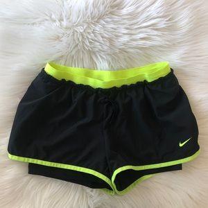 Nike Neon Striped Shorts Size M DRI-Fit